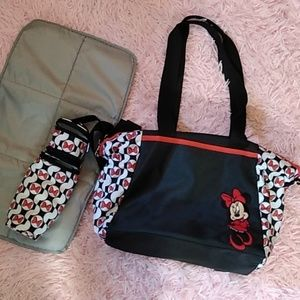 Minnie mouse black white red diaper bag baby bag